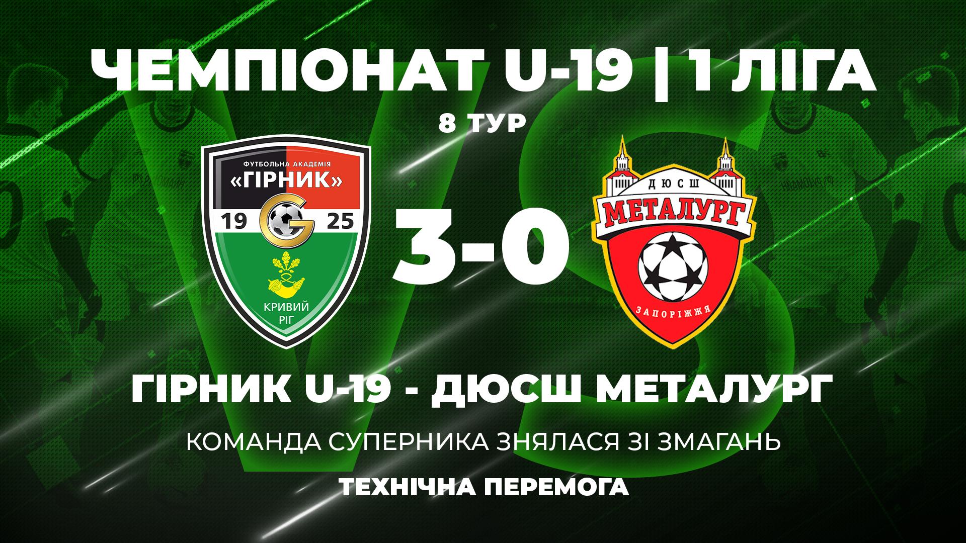 """""""Гірник"""" U-19 - СДЮШОР """"Металург"""" U-19: технічна перемога"""